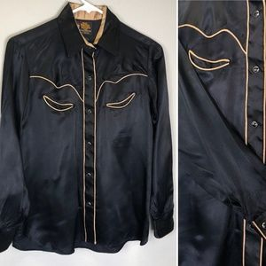 VINTAGE 1970'S WESTERN SNAP SHIRT Rockabilly Pinup